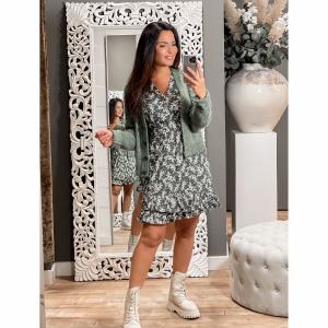 Lofty Manner Dress Ava green white