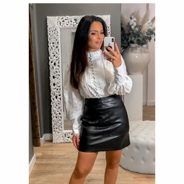 NA-KD Pocket PU Skirt black